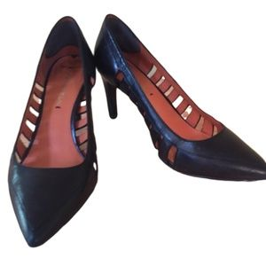 VIA SPIGA Black Leather Heels Size 7